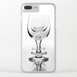 Three empty wine glasses in a row Clear iPhone Case