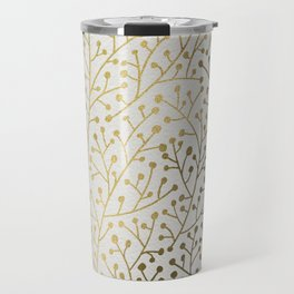 Gold Berry Branches Travel Mug
