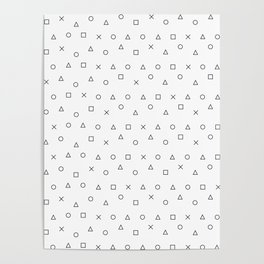 gaming pattern - gamer design - playstation controller symbols Poster
