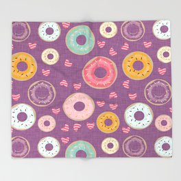 hearts and donuts purple Throw Blanket