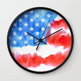 Print. Watercolor flag of America Wall Clock