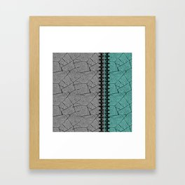 Grey , turquoise background with decorative vertical stripe. Framed Art Print