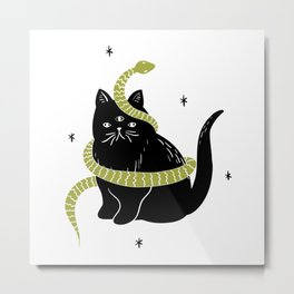 Black Cat Snake Metal Print