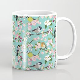 Blossom and Birds Turquoise Print Coffee Mug