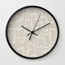 Beige / Light Warm Gray Retro Geometric Pattern Wall Clock