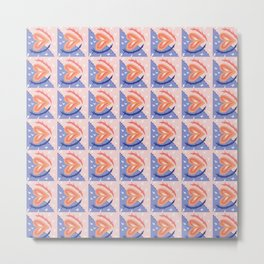 Blue and Pink Heart Geometric Pattern Metal Print