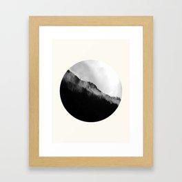 Mid Century Modern Round Circle Photo Black And White Misty Pine Trees Cliff Framed Art Print