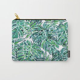 JUNGLE VIBES Green Tropical Monstera Leaves Carry-All Pouch
