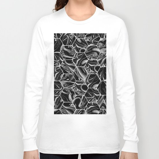 Hex & Swirl - Black and White Marble Pattern Long Sleeve T-shirt