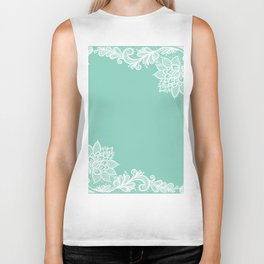 White Flower Lace Henna Design Teal Blue Mint Aqua Vintage Lace White Lace Design Biker Tank