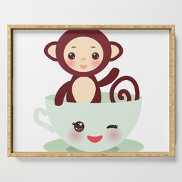 Cute Kawai pink cup with brown monkey Serving Tray