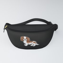 Cute Blenheim Cavalier King Charles Spaniel Dog Cartoon Illustration Fanny Pack