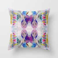 jane davenport Throw Pillows featuring Perfect Little - Kaleidascope version by Jane Davenport by Jane Davenport