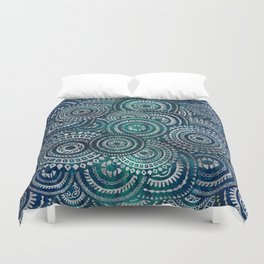 Gentle Teal and blue Circular Tribal  pattern Duvet Cover