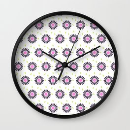 Hand painted black pink lime green floral daisies Wall Clock