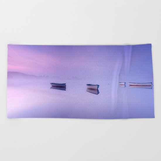 Misty Morning on the Lake Beach Towel
