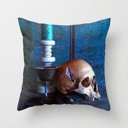 Skull in dark setup 2 Throw Pillow
