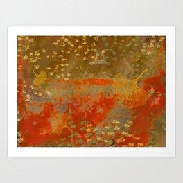 Ginkgo Leaves on Rust Background Art Print