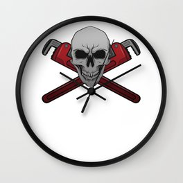 Pipefitter Plumber Definition Skull Pipe Wrench Gift Wall Clock