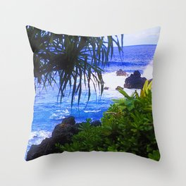 Secret Surf Location in Maui, Hawaii Throw Pillow