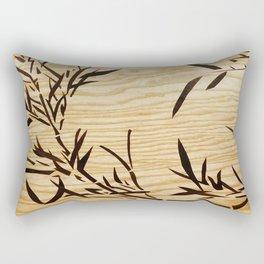 Japanese bamboo buddha wood art Rectangular Pillow