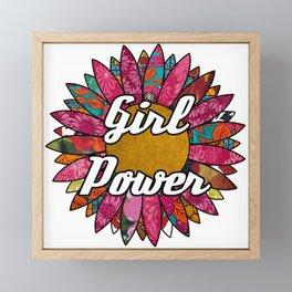 Girl Power Retro Flower Framed Mini Art Print