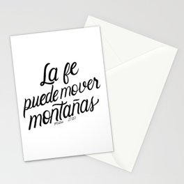 La fe puede mover montañas. Mateo 17:20 - Spanish Bible Verse - White Background Stationery Cards