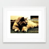 hemingway Framed Art Prints featuring Hemingway Cat by Derek Fleener