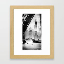 Sears Tower (from the Kinzie Bridge, Chicago, IL) Framed Art Print