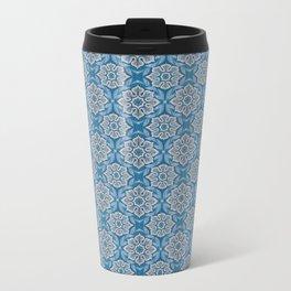 Snow flower, floral pattern, blue & gray snowflake Metal Travel Mug
