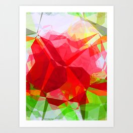 Red Rose Edges Abstract Polygons 1 Art Print