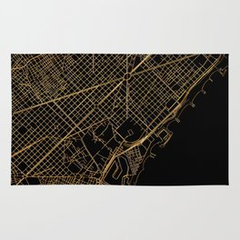 Black and gold Barcelona map Rug