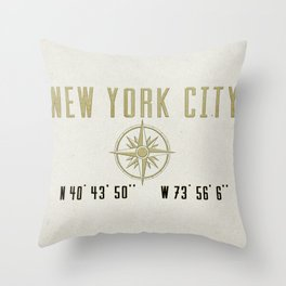 New York City Vintage Location Design Throw Pillow