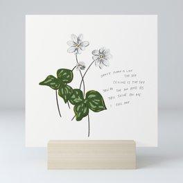 As You Shine on Me I Feel Free White Green Flower Illustration Romantic Lyric Mini Art Print