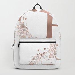 Letter R Rose Gold Pink Initial Monogram Backpack