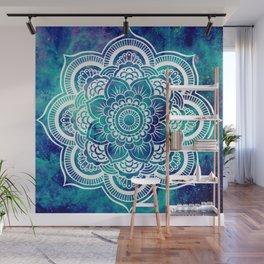 Galaxy Mandala Turquoise Teal Indigo Wall Mural