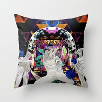 coven Throw Pillows featuring Surrealist's Coven by Nicholas Lucius.