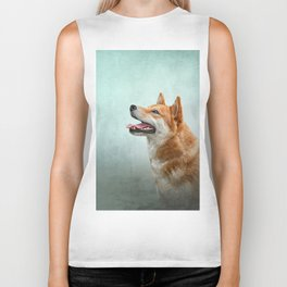 Drawing Japanese Shiba Inu dog 2 Biker Tank