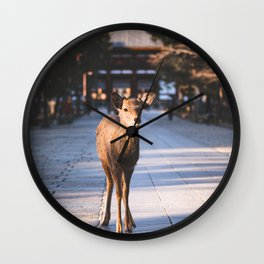 A cute Japanese Shika Deer standing in front of a shrine in Nara  奈良の鹿 Wall Clock
