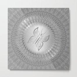 Silver Butterfly Mandala Metal Print