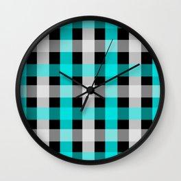 blue black checks Wall Clock