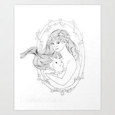 Rabbit Heart-Line Drawing Art Print
