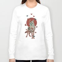 lady Long Sleeve T-shirts featuring Lady Butterfly by Paula Belle Flores