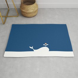Whale in Blue Ocean with a Love Heart Rug