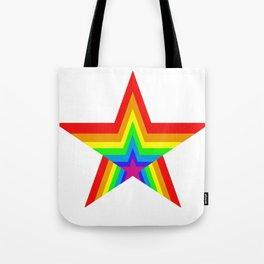 Bright Hypnotic Rainbow Pride Star Tote Bag