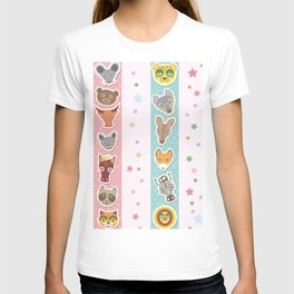 Set of funny animals muzzle seamless pattern with stars, pink lilac blue stripes. Vector T-shirt