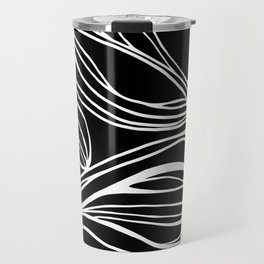 Abstract Swirling Waves / Black and White Travel Mug