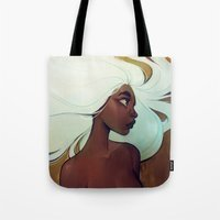 men Tote Bags featuring glow in the dark by loish