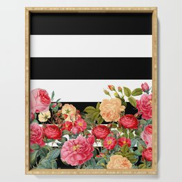 Black and White Stripe with Floral Serving Tray