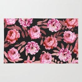Pink Girly Floral Faux Rose Gold Leaf Pattern Rug